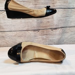 Cole Haan Nike Air tan and black leather wedges